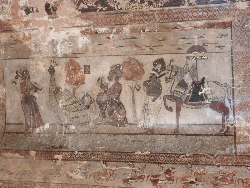 在墙壁上的精妙的古老绘画在orcha的,印度,中央邦贾汉吉尔玛哈尔 库存图片