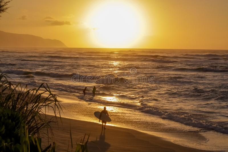 在夏威夷的日落在海滩 库存图片
