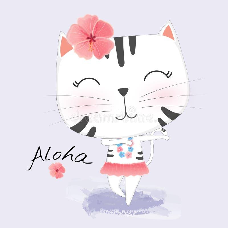 在夏威夷衣裳的逗人喜爱的猫跳舞Hula 花花圈和诗歌选  库存例证