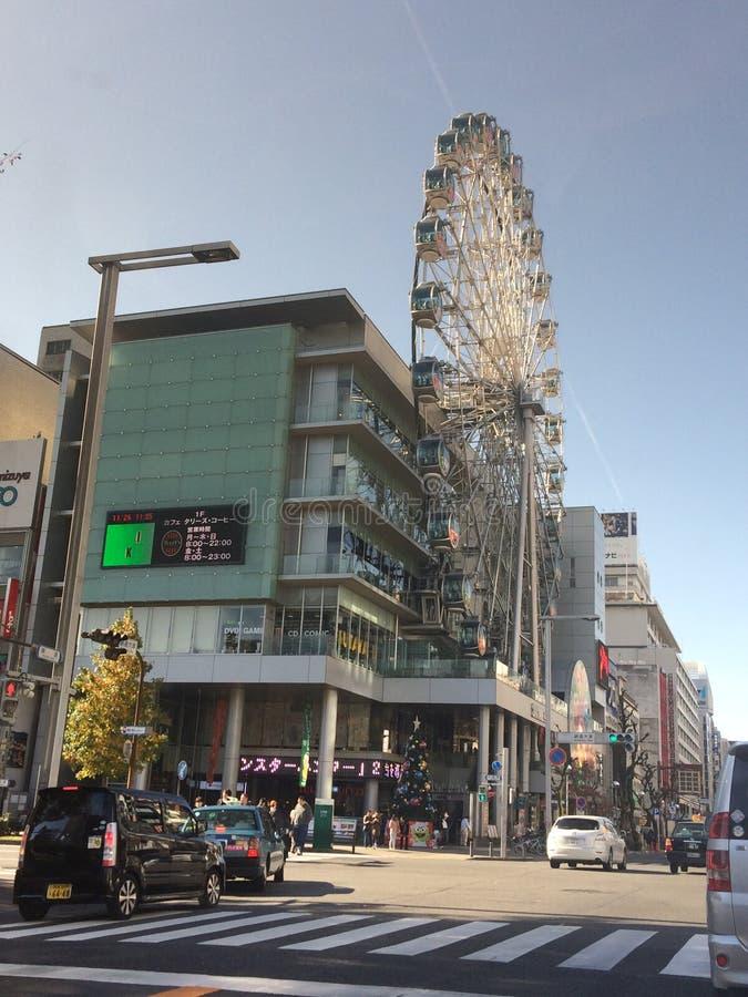 在大厦的独特的弗累斯大转轮在札幌,日本 免版税图库摄影