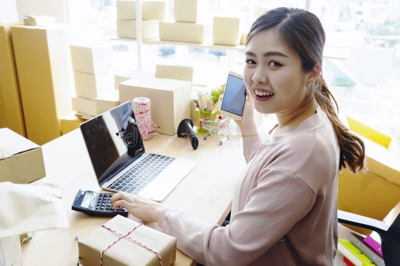 在家工作关于网上事务的年轻企业家妇女 库存图片