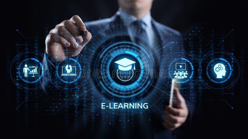 在屏幕上的电子教学网上教育产业互联网概念 免版税图库摄影