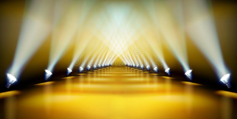 在展示期间的阶段指挥台 金黄的地毯 也corel凹道例证向量 库存例证
