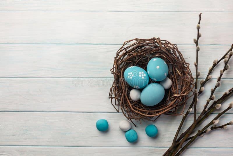 在巢和褪色柳的蓝色被绘的鸡蛋 可用的看板卡复活节eps文件问候 与空间的顶视图您的问候的 免版税图库摄影