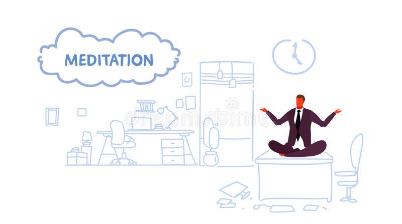 在工作场所书桌保留镇静凝思的商人的商人坐的瑜伽莲花姿势放松概念现代办公室 库存例证