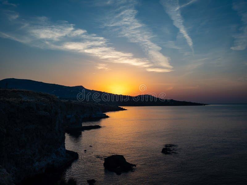 在希腊的日出,美好的颜色 库存图片
