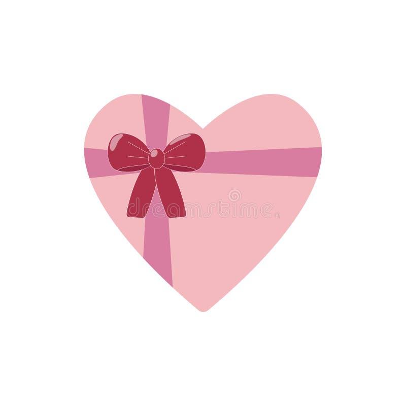 在心脏箱子的巧克力糖 红色上升了 传染媒介平的设计 库存照片