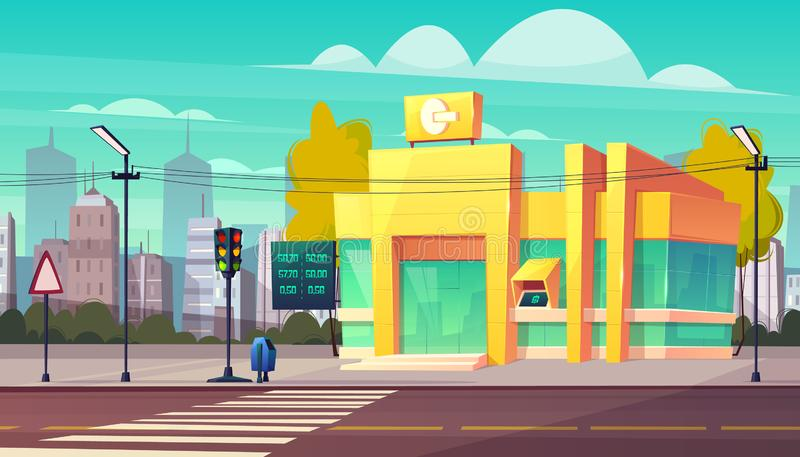 在城市街道动画片传染媒介的银行分行大厦 向量例证