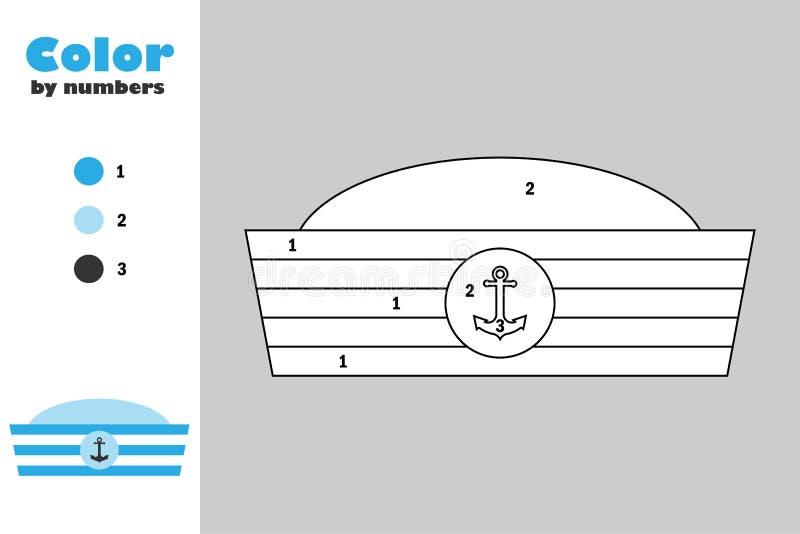 在动画片样式,由数字,教育孩子的发展的,上色页,孩子幼儿园纸比赛的颜色的水手帽子 皇族释放例证
