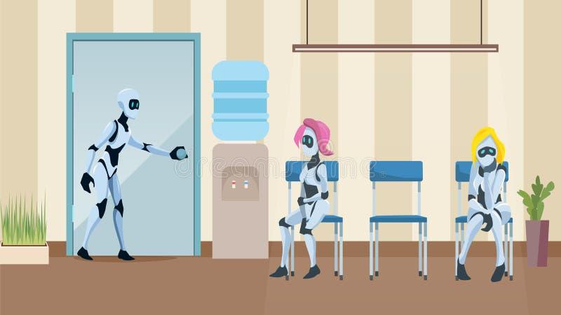 在办公室走廊等待面试的机器人队列 皇族释放例证