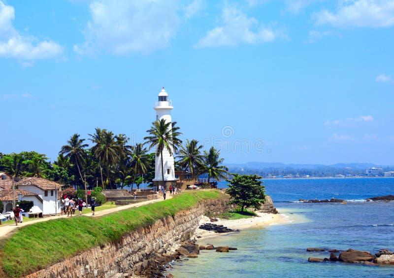 在加勒堡垒,斯里兰卡的著名灯塔 库存图片