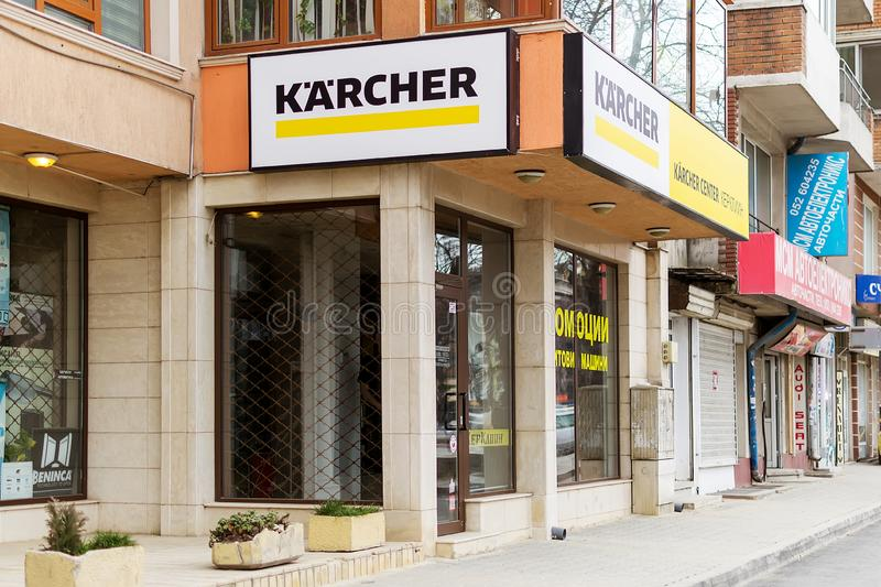在品牌商店上的凯驰牌和服务中心在瓦尔纳,从街道的看法 凯驰生产上流的设备 免版税库存照片