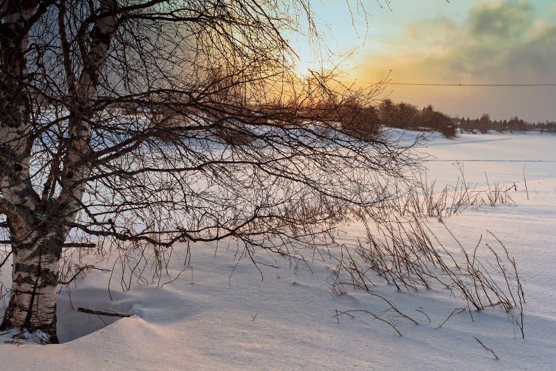 在冰冷的河的剧烈的日落 库存图片