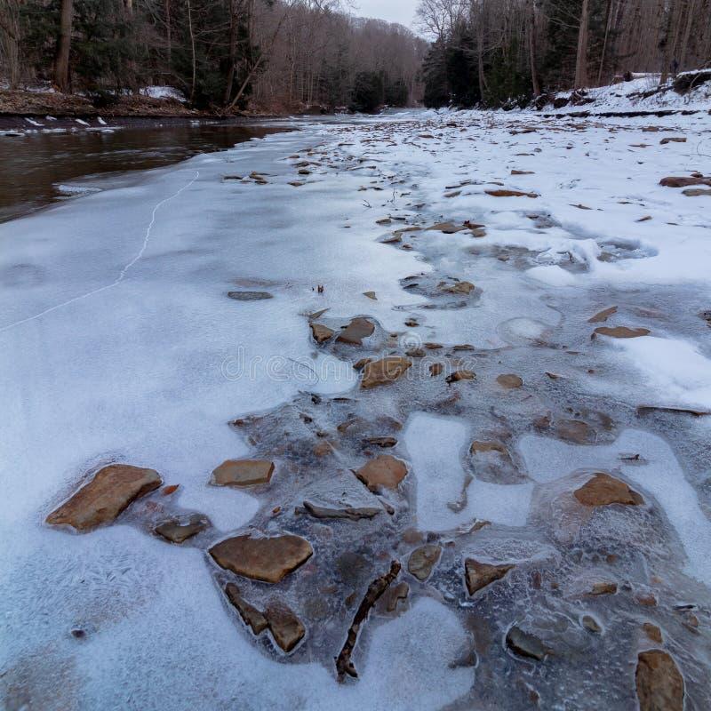 在冰结冰的岩石 免版税库存照片
