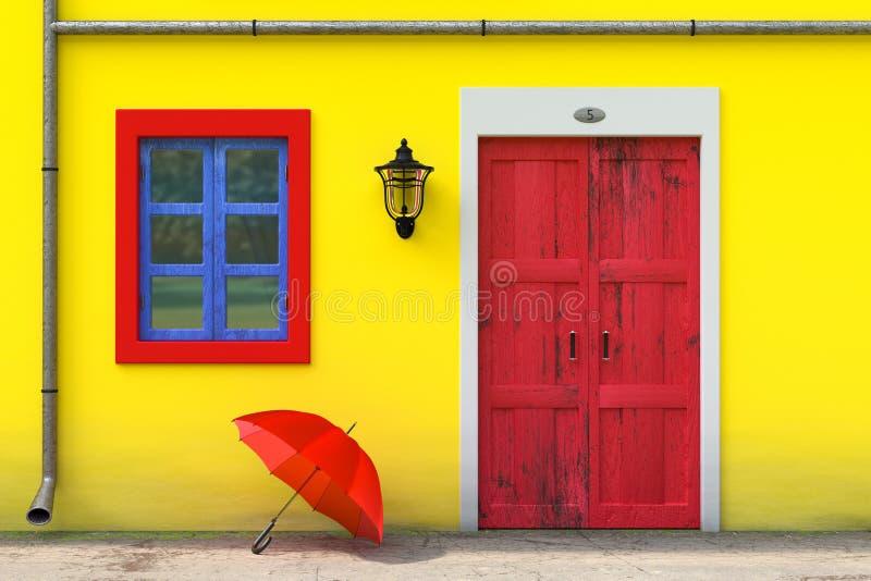 在减速火箭的葡萄酒欧洲房屋建设前面的红色伞与黄色墙壁、红色门和蓝色Windows,狭窄的街道场面 皇族释放例证
