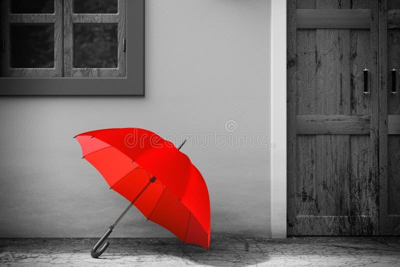 在减速火箭的葡萄酒欧洲房屋建设前面的红色伞在单色样式,狭窄的街道场面 3d翻译 向量例证