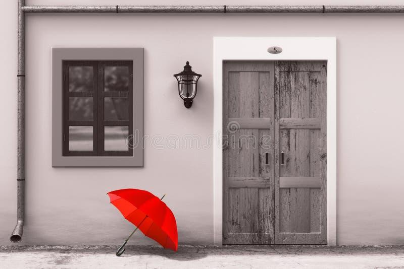 在减速火箭的葡萄酒欧洲房屋建设前面的红色伞在单色样式,狭窄的街道场面 3d翻译 免版税库存照片