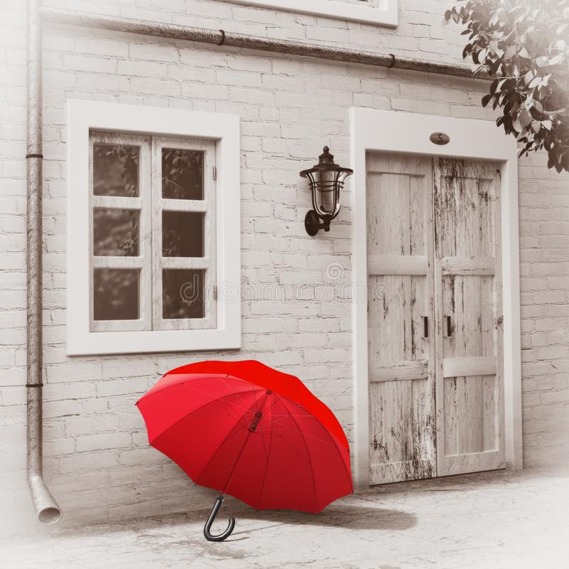 在减速火箭的葡萄酒欧洲房屋建设,在单色乌贼属样式的狭窄的街道场面前面的红色伞 3d翻译 免版税库存图片