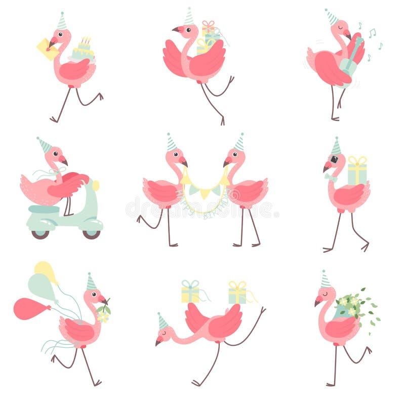 在党帽子集合的逗人喜爱的火鸟,与礼物盒,花,党旗子的美好的异乎寻常的鸟字符,愉快 向量例证
