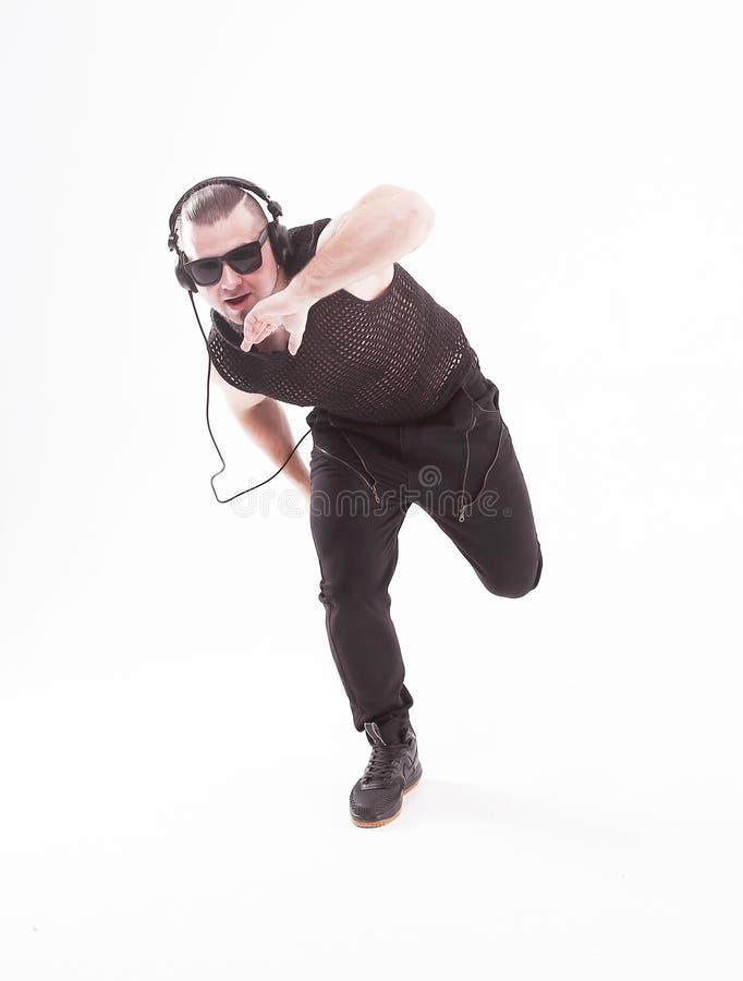 在充分的成长 凉快的交谈者执行breakdance 库存图片