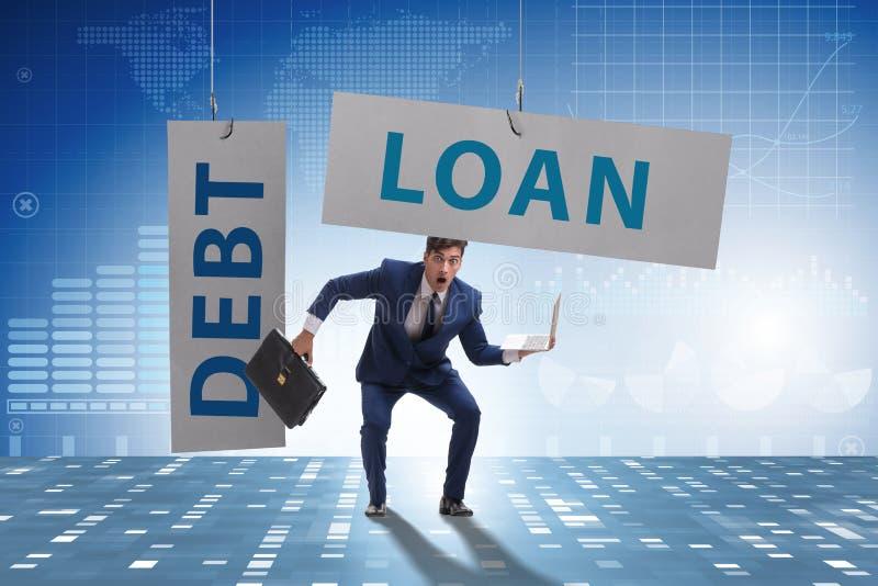 在债务和贷款概念的商人 库存图片