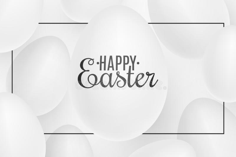 在框架的现实复活节白色3D鸡蛋 复活节快乐的盖子 欢乐网横幅 也corel凹道例证向量 向量例证
