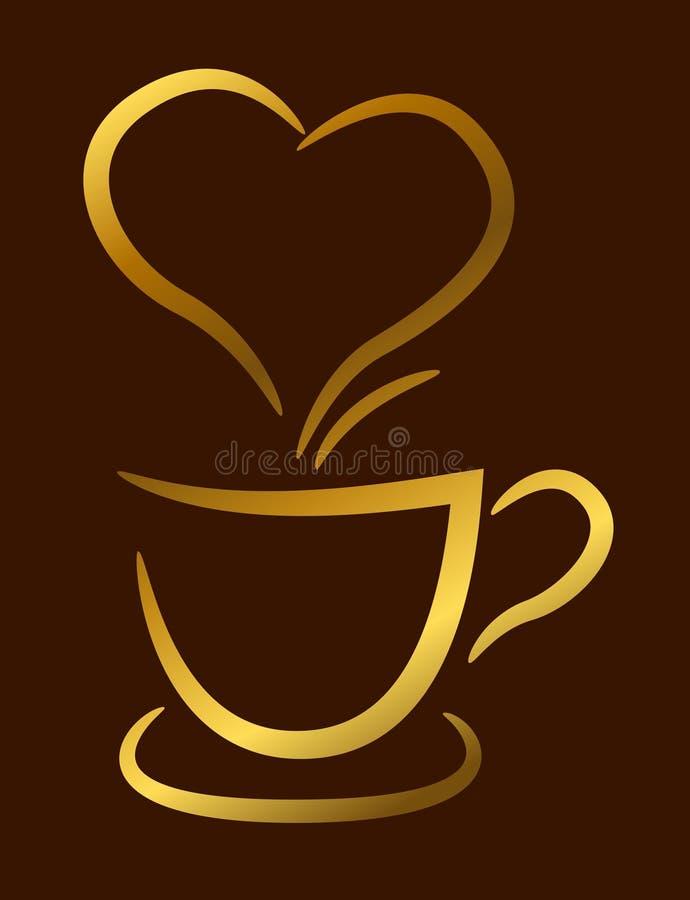 在棕色背景,例证的咖啡杯金子 图库摄影