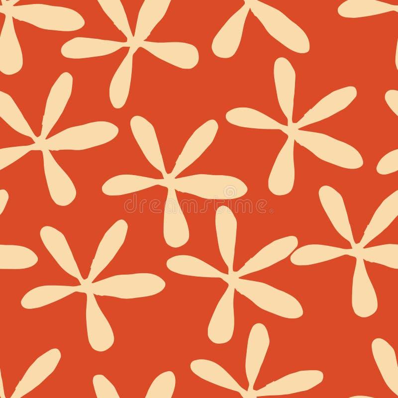 在橙色背景seameless样式的米黄风格化花 库存例证