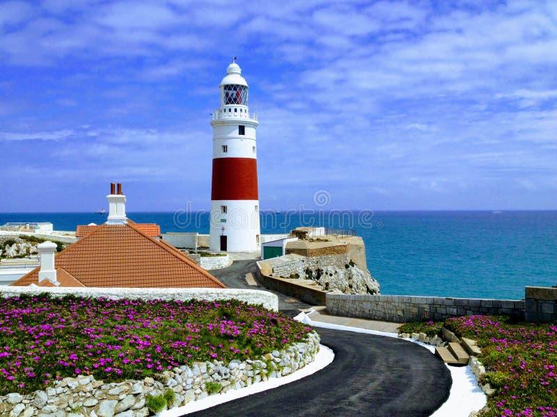 在欧洲点,直布罗陀的灯塔 库存照片