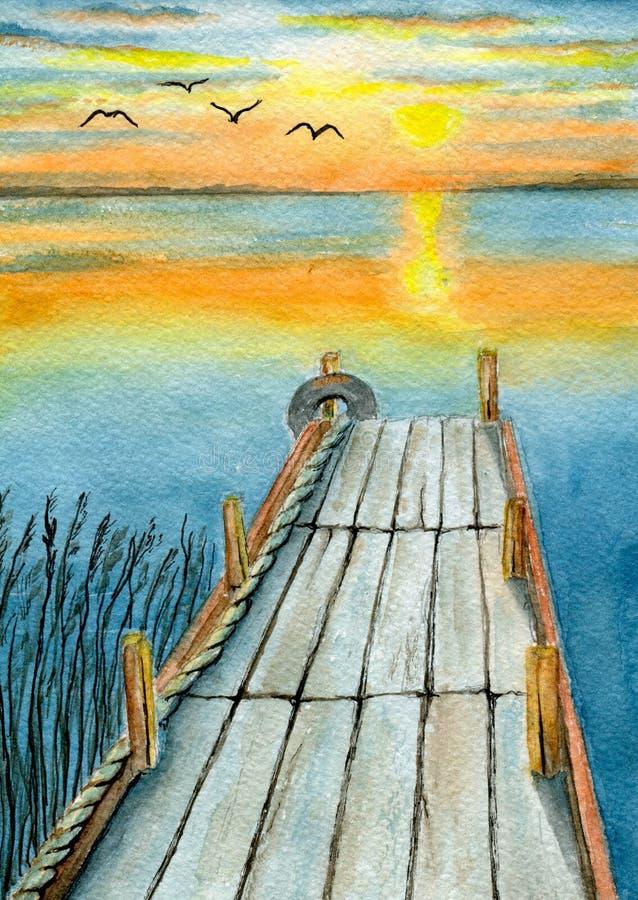 在河的日落 库存例证