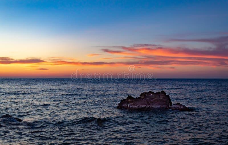 在法德摩萨港的微明  图库摄影