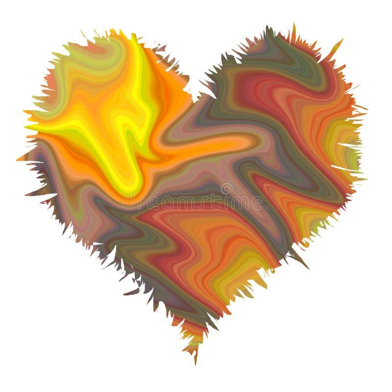 在流动的淡色软的颜色的抽象心脏纹理 库存例证