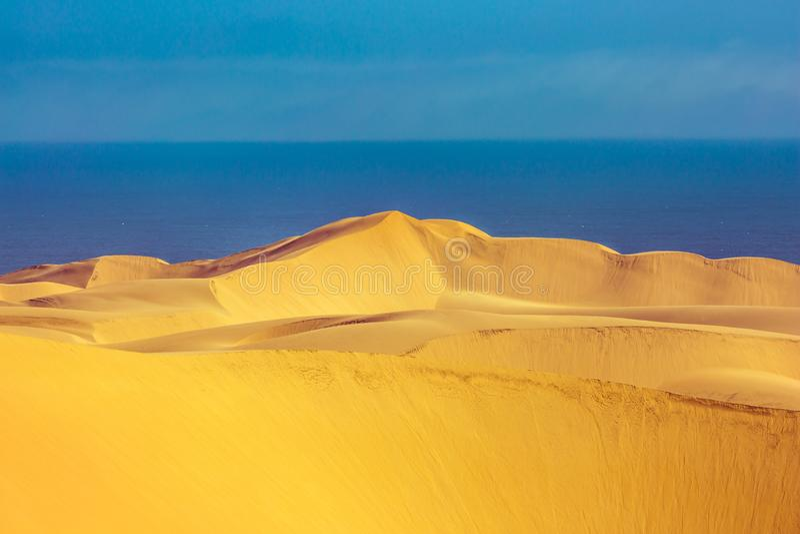 在海洋海岸的巨大的含沙沙丘 库存图片