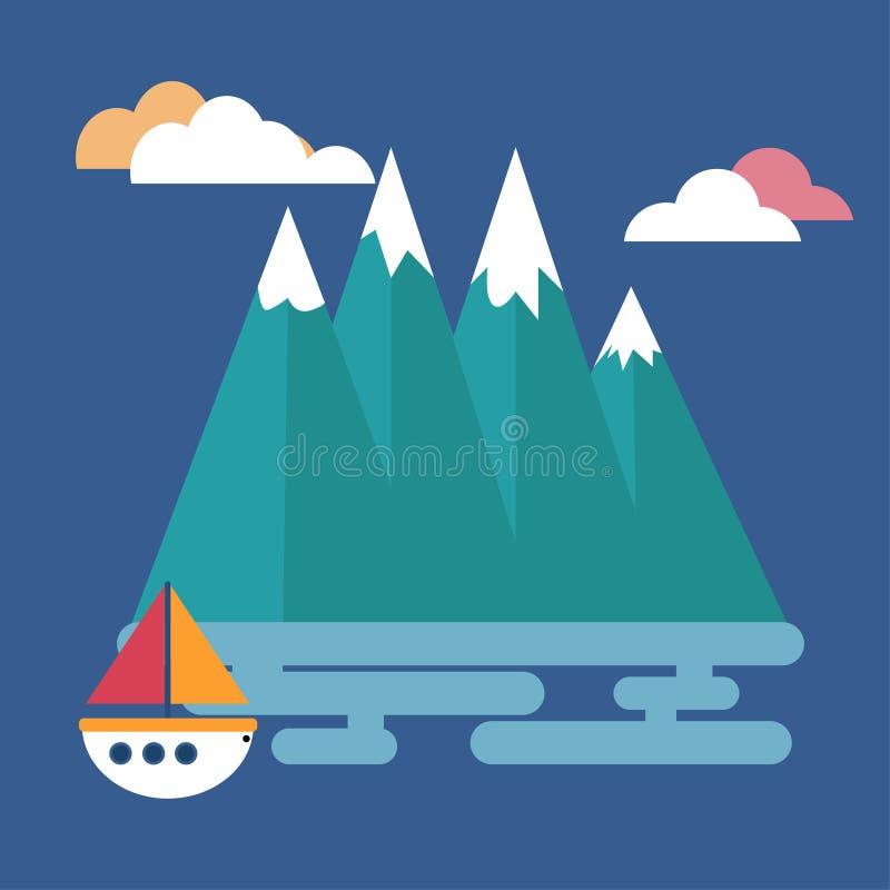 在海的一个小船航行 库存例证