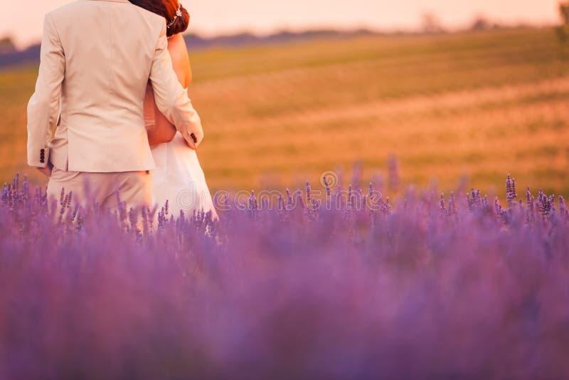 在淡紫色领域、浪漫日落和美好的自然背景的夫妇 田园诗婚姻的夫妇目的地,婚礼摄影场面 库存照片