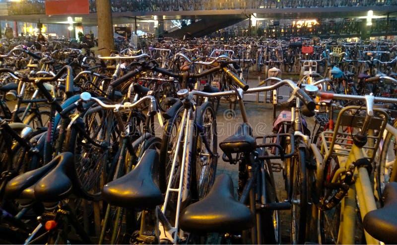 在混乱一起停放的许多自行车在荷兰,在阿姆斯特丹 免版税库存图片