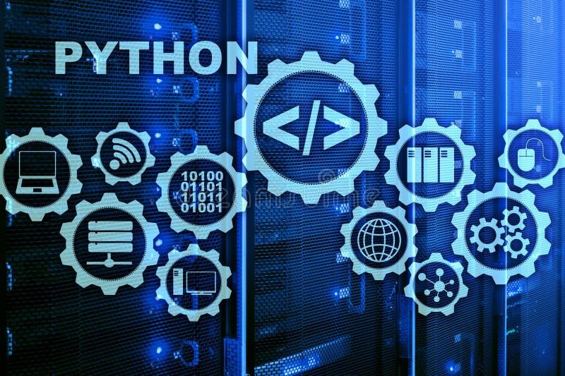 在服务器室背景的Python编程语言 在虚屏上的编程的工作流摘要算法概念 免版税库存照片