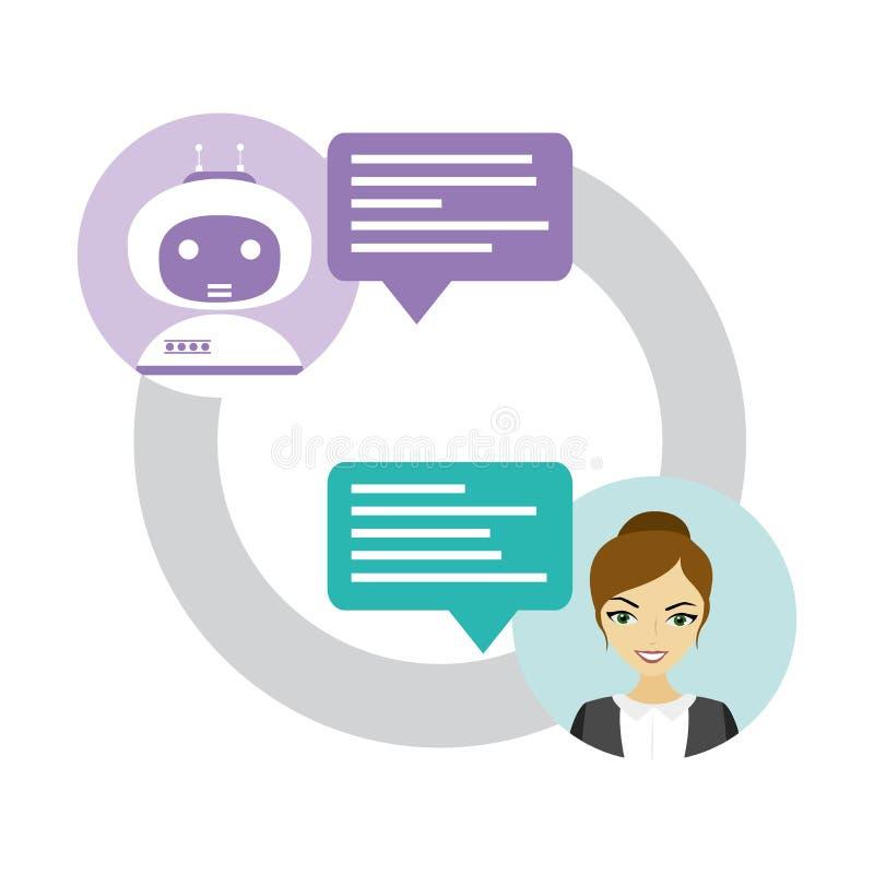 在机器人马胃蝇蛆和人,女性和chatbot之间的闲谈 库存例证