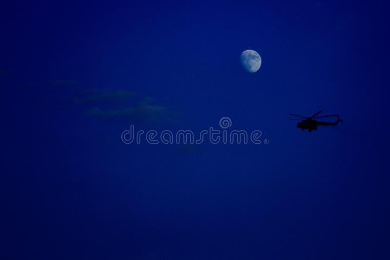 在月光的夜间飞行 免版税图库摄影