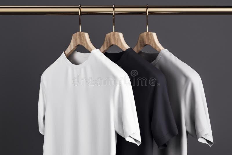 在挂衣架的空白的T恤杉 皇族释放例证