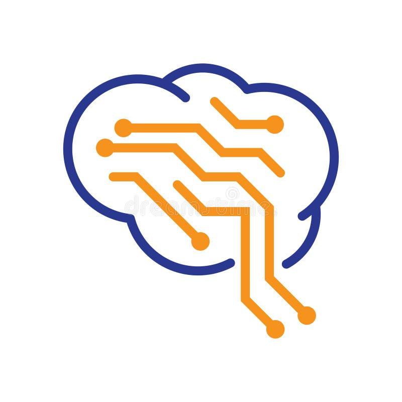 在抽象符号的天才脑子聪明的电路板网络 库存例证