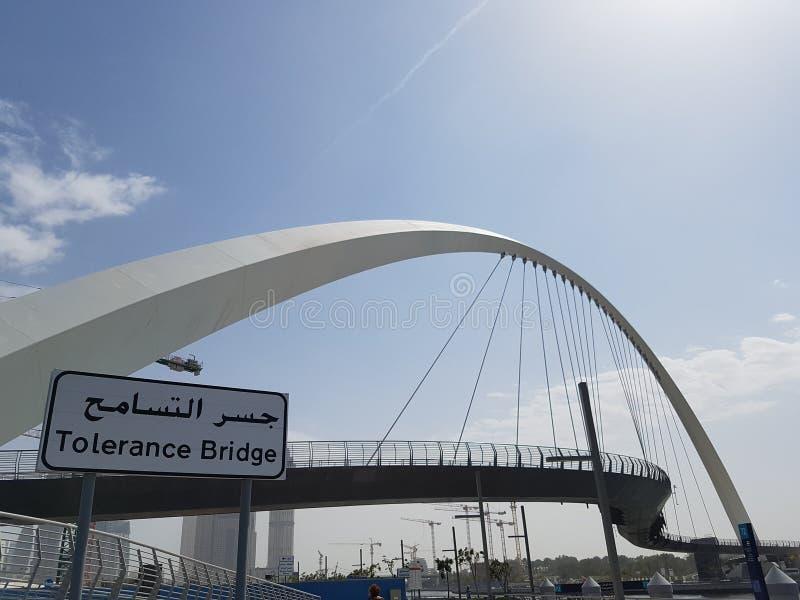 在接近企业海湾区的迪拜新近地修筑的容忍桥梁 阿拉伯联合酋长国是容忍的全球性资本在2019年 图库摄影