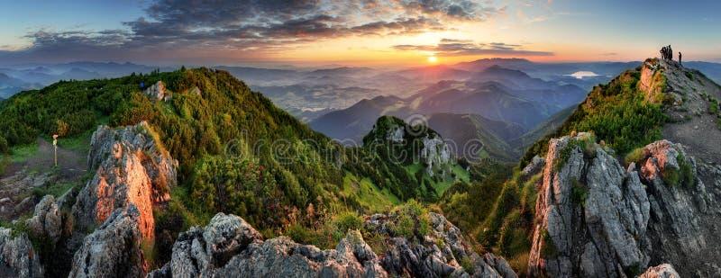 在日出期间的山谷 自然夏天风景在斯洛伐克 免版税库存照片