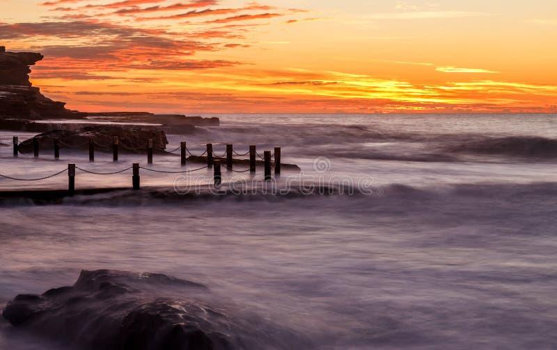 在日出,NSW,澳大利亚的马翁水池 库存图片