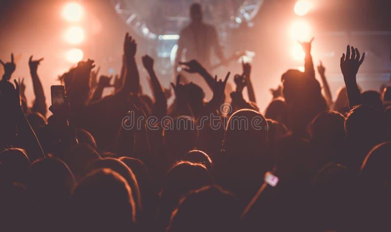 在摇滚乐音乐会的观众 免版税库存照片