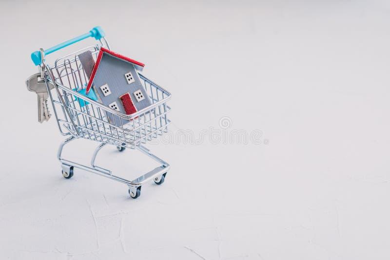 在手推车、不动产、抵押、财产保险和安全概念的小木房子模型 库存图片