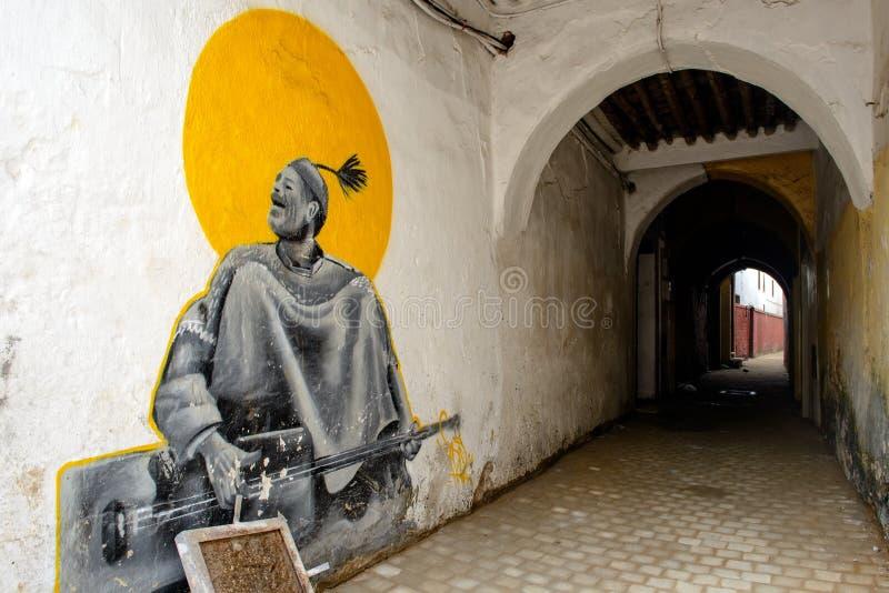 在拉巴特,摩洛哥街道上的街道画  免版税图库摄影