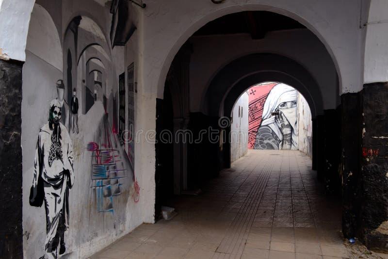 在拉巴特,摩洛哥街道上的街道画  免版税库存照片