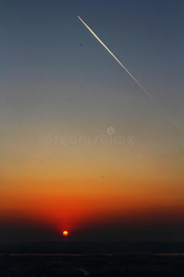 在曼德勒小山的日落 图库摄影