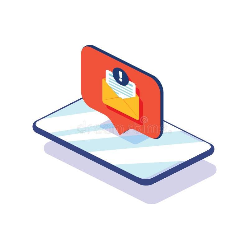 在智能手机屏幕上的新的消息 也corel凹道例证向量 在电话平的设计消息的新的闲谈消息通知 皇族释放例证